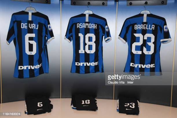 General view of the FC Internazionale dressing room ahead of the Serie A match between FC Internazionale and US Lecce at Stadio Giuseppe Meazza on...