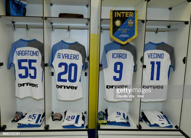 A general view of the FC Internazionale dressing room ahead of the the Serie A match between Hellas Verona FC and FC Internazionale at Stadio...