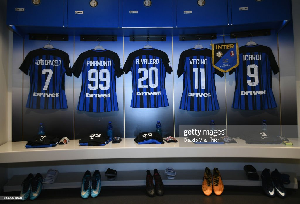 A general view of the FC Internazionale dressing room ahead of the TIM Cup match between AC Milan and FC Internazionale at Stadio Giuseppe Meazza on December 27, 2017 in Milan, Italy.