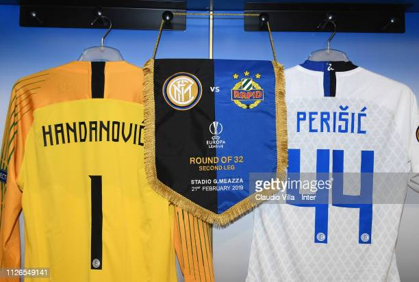 A general view of the FC Internazionale dressing room ahead of the UEFA Europa League Round of 32 Second Leg match between FC Internazionale and SK...