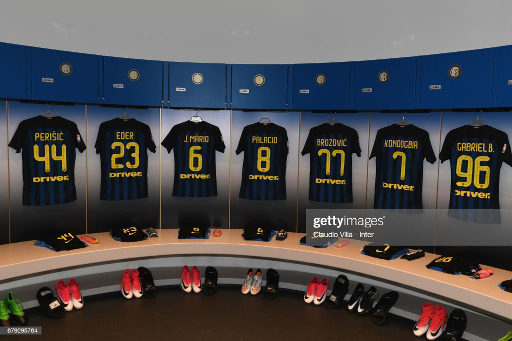 A general view of the FC Internazionale dressing room prior to the Serie A match between FC Internazionale and SSC Napoli at Stadio Giuseppe Meazza on April 30, 2017 in Milan, Italy.