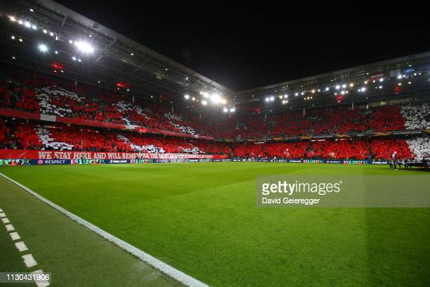General view of the FC Salzburg fans during the UEFA Europa League Round of 16 second leg match between FC Salzburg and SSC Napoli at Red Bull Arena...