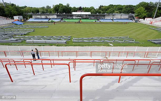 """General view of the FC Union stadium """"Stadion An der Alten Försterei """", currently undergoing renovation work in the former east Berlin district of..."""