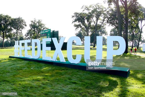 General view of the Fedex Cup Playoff Logo during the third round of The Northern Trust on August 25, 2018 at the Ridgewood Championship Course in...