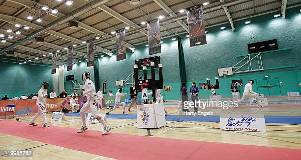 A general view of the fencing arena during the men's semi final round at the modern pentathlon European Championships at Medway Park on July 28 2011...
