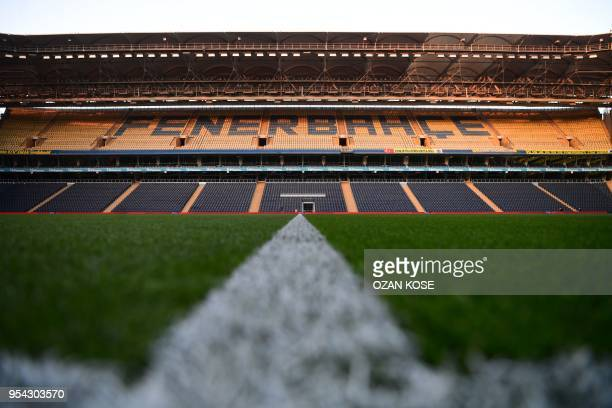 TOPSHOT A general view of the Fenerbahce stadium is seen prior to the rescheduled Turkish Cup semi second leg final football match between Fenerbahce...