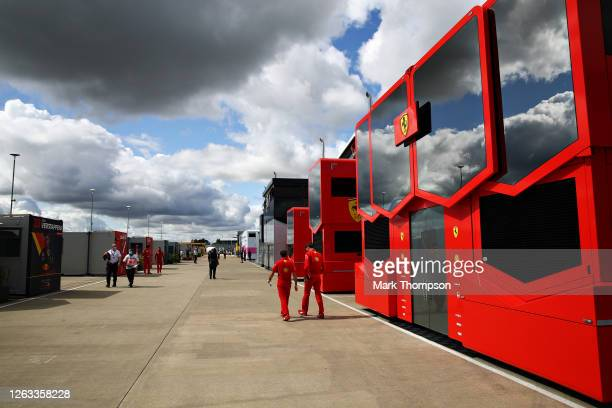 General view of the Ferrari motorhome in the Paddock before the F1 Grand Prix of Great Britain at Silverstone on August 02, 2020 in Northampton,...
