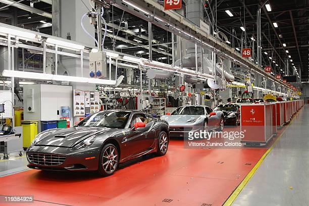 A general view of the Ferrari Nuovo Montaggio Vetture department during a Ferrari factory tour on July 19 2011 in Maranello Italy Ferrari SpA is an...