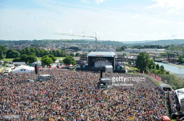 General view of the festival crowd at the main stage on the last day of the Isle of Wight Festival at Seaclose Park on June 13 2010 in Newport Isle...
