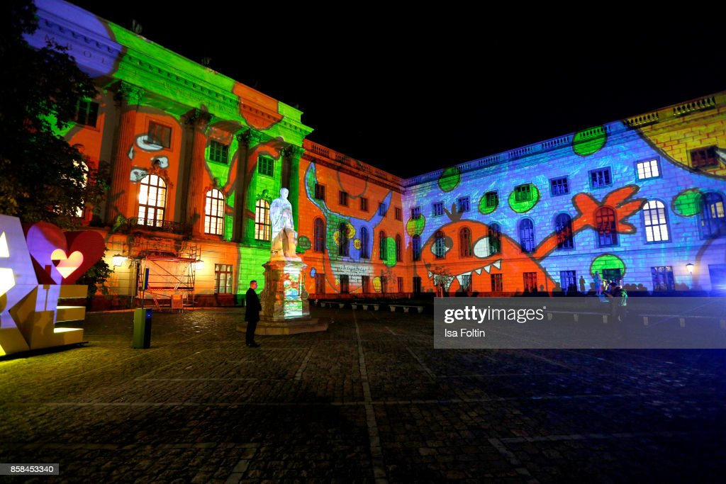A general view of the Festival of Lights at Humboldt University on October 6, 2017 in Berlin, Germany. From October 6 till October 15 there will be a light installation on the front of the Humboldt University in Berlin along with other installations around the City. McDonald's Germany celebrates the 30th anniversary of the Ronald McDonald House Charities in Germany.