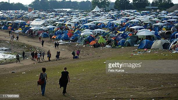 A general view of the festival site on day three of Roskilde Festival 2011 on July 2 2011 in Roskilde Denmark