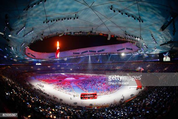 A general view of the festivities in Beijing National Stadium during the Closing Ceremony for the Beijing 2008 Olympic Games on August 24 2008 in...