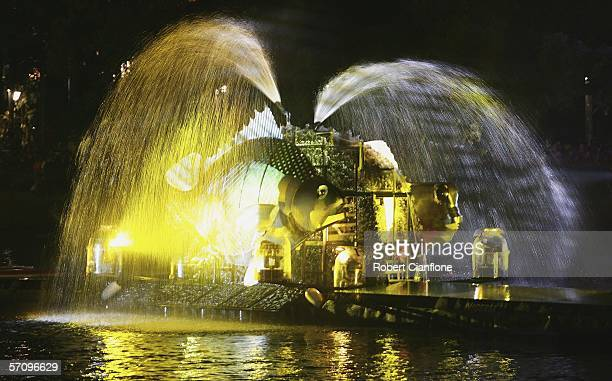 General view of the festivities on the Yarra River during the Opening Ceremony for the Melbourne 2006 Commonwealth Games at the Melbourne Cricket...
