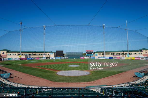 A general view of the field after the spring training game between the St Louis Cardinals and the Miami Marlins at Roger Dean Chevrolet Stadium on...
