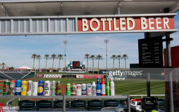 A general view of the field and concession stand before the spring training game between the Cincinnati Reds and the Los Angeles Angels at Goodyear...