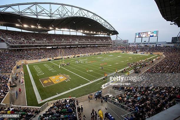 General view of the field and stadium in a CFL game between the Saskatchewan Roughriders and Winnipeg Blue Bombers at Investors Group Field on August...
