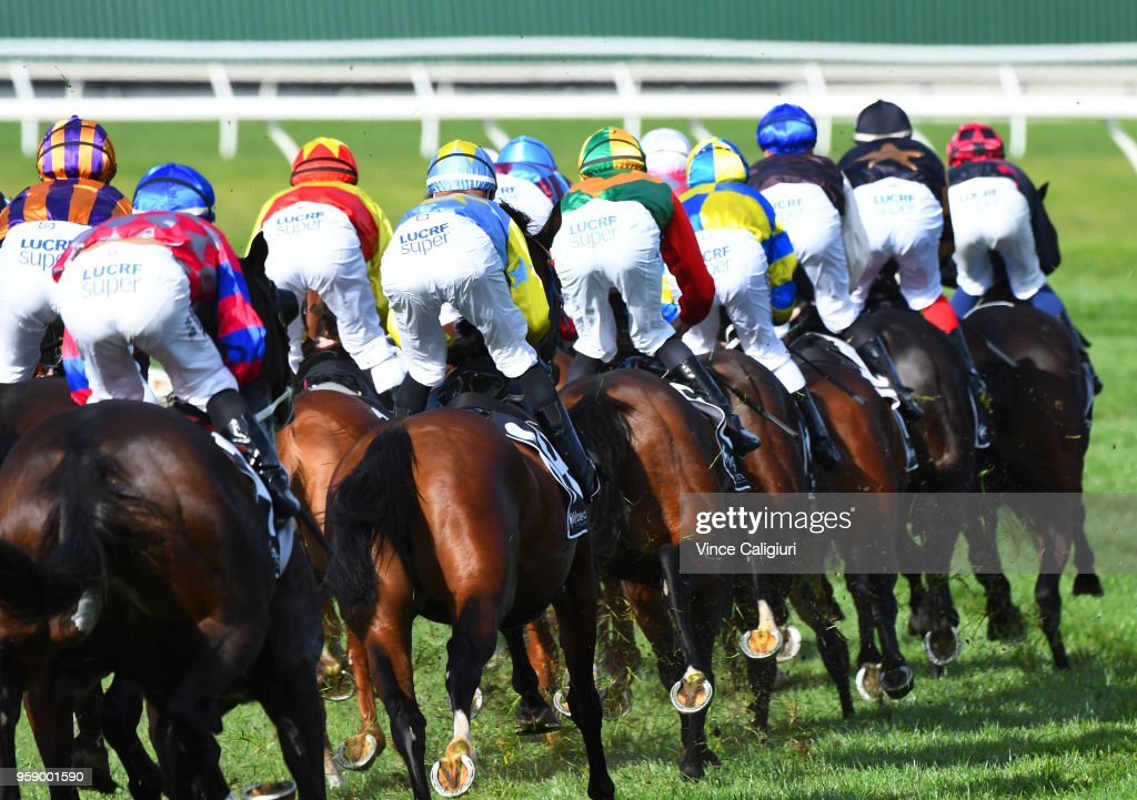 General view of the field approaching the the first turn in Race 4 during Melbourne Racing at Sandown Hillside on May 16, 2018 in Melbourne, Australia.