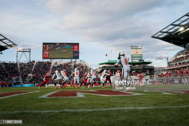 General view of the field as Brock Miller of the Seattle Dragons punts the ball against the DC Defenders during the second half of the XFL game at...