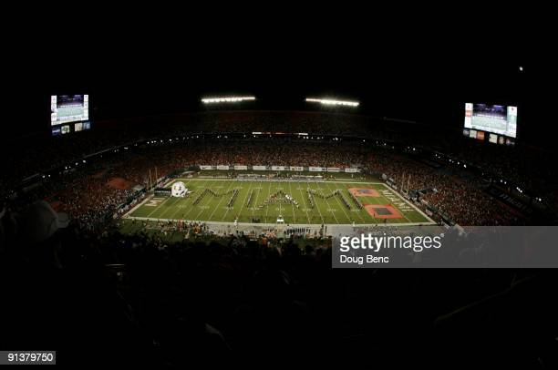 General view of the field as the band performs prior to the start of the game between the Miami Hurricanes and the Oklahoma Sooners on October 3,...