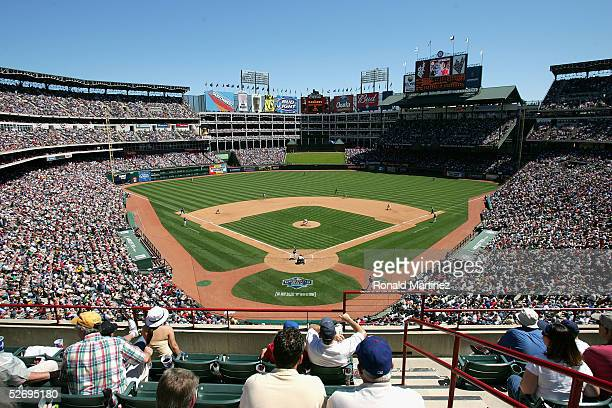A general view of the field as the Los Angeles Angels of Anaheim play against the Texas Rangers on opening day April 11 2005 at Ameriquest Field in...