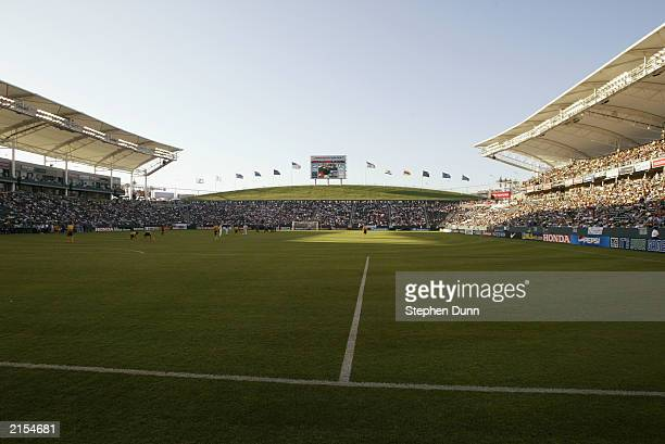A general view of the field as the Los Angeles Galaxy host the New England Revolution in their Major League Soccer game on July 4 2003 at the Home...