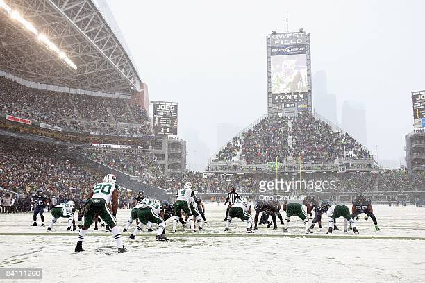 A general view of the field as the New York Jets are at the line of scrimmage during the game against the Seattle Seahawks on December 21 2008 at...