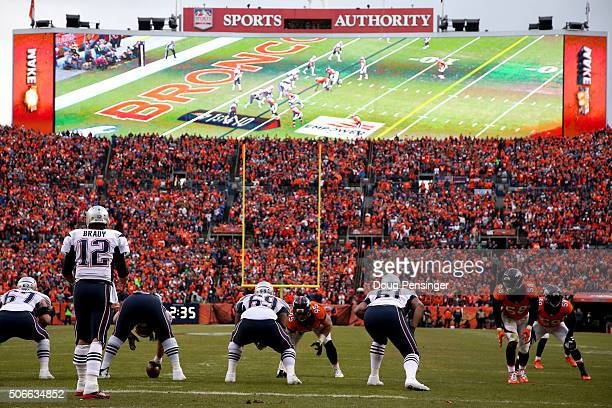 A general view of the field as Tom Brady of the New England Patriots prepares for the snap in the second half against the Denver Broncos in the AFC...