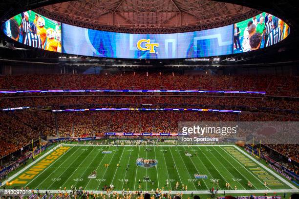 A general view of the field at the coin toss prior to the Georgia Tech Yellow Jackets vs the Tennessee Volunteers in the ChickFilA Kickoff Game on...