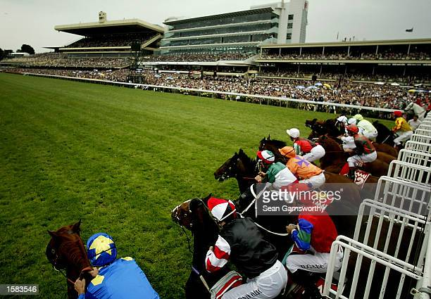 A general view of the field at the start of the 2002 AAMI Victoria Derby at Flemington Racecourse in Melbourne Australia on November 2 2002