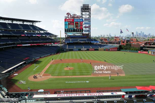 General view of the field during a game between the Miami Marlins and the Philadelphia Phillies at Citizens Bank Park on July 25, 2020 in...