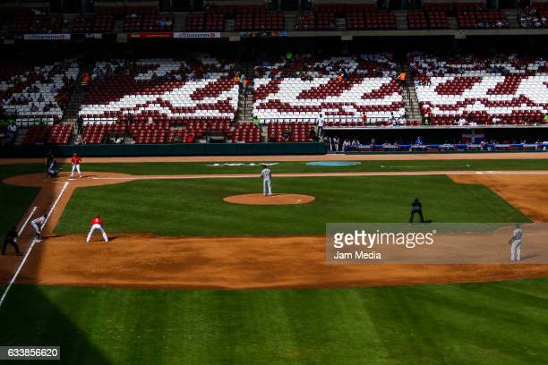 General view of the field during a game between Tigres de Licey of the Dominican Republic and Criollos de Caguas of Puerto Rico in the Baseball...