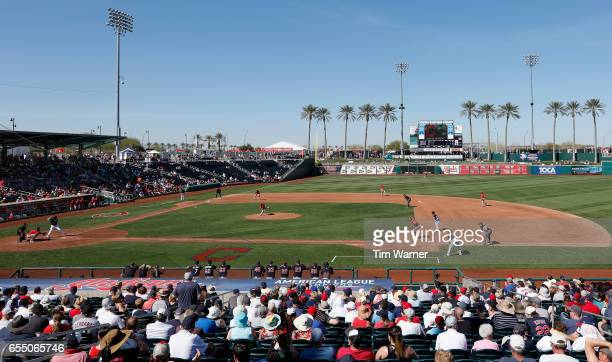 A general view of the field during a spring training game between the Cleveland Indians and the Los Angeles Angels of Anaheim at Goodyear Ballpark on...