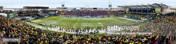 General view of the field during the 2020 NCAA Division I Football Championship game between the North Dakota State Bison and the James Madison Dukes...
