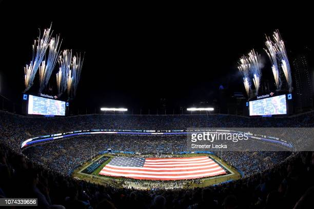 A general view of the field during the national anthem before the game between the Carolina Panthers and the New Orleans Saints at Bank of America...