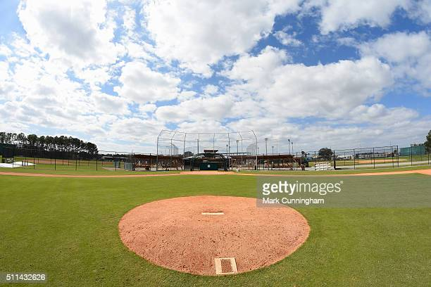 A general view of the field from behind the pitchers mound during the Detroit Tigers Spring Training workout day at the TigerTown Facility on...