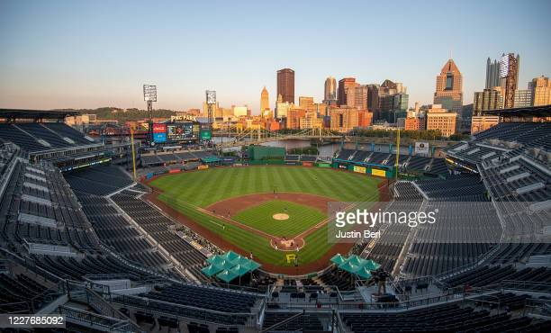 General view of the field in the fifth inning during the exhibition game between the Pittsburgh Pirates and the Cleveland Indians at PNC Park on July...