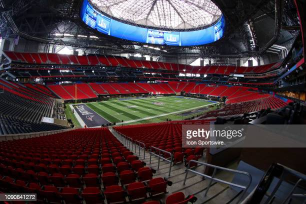 General View of the Field inside of Mercedes Benz Stadium during Super Bowl LIII week on January 28 2019 in Atlanta GA