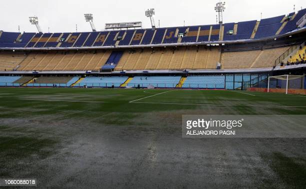 General view of the field of La Bombonera stadium in Buenos Aires on November 10 before torrential rain forced the postponement of the Copa...