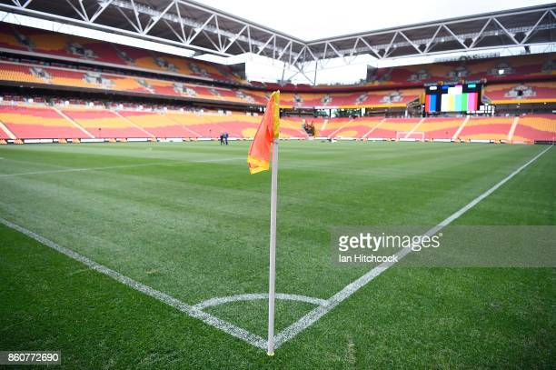 A general view of the field of play before the start of the during the round two ALeague match between the Brisbane Roar and Adelaide United at...