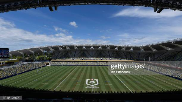 A general view of the field of play before the start of the round 1 NRL match between the North Queensland Cowboys and the Brisbane Broncos at...