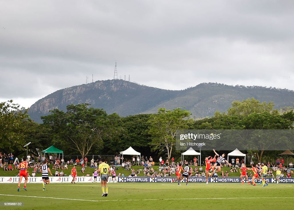 A general view of the field of play during the AFL JLT Community Series match between the Geelong Cats and the Gold Coast Suns at Riverway Stadium on March 4, 2018 in Townsville, Australia.