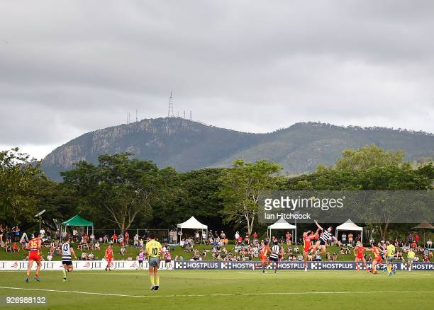 General view of the field of play during the AFL JLT Community Series match between the Geelong Cats and the Gold Coast Suns at Riverway Stadium on...
