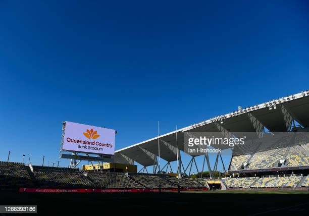 General view of the field of play is seen before the start of the round 14 NRL match between the North Queensland Cowboys and the South Sydney...