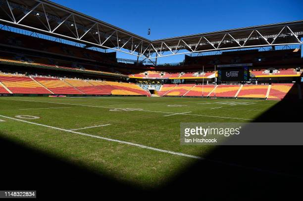 A general view of the field of play is seen before the start of the round nine NRL match between the Canterbury Bulldogs and the Newcastle Knights at...
