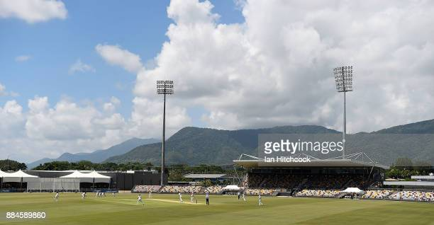 A general view of the field of play is seen during day one of the Sheffield Shield match between Queensland and South Australia at Cazaly's Stadium...