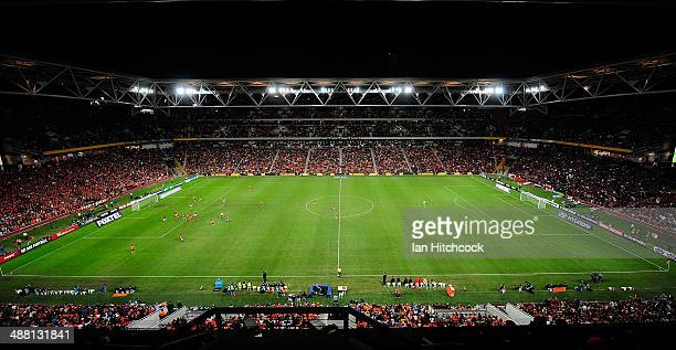 A general view of the field of play is seen during the 2014 ALeague Grand Final match between the Brisbane Roar and the Western Sydney Wanderers at...