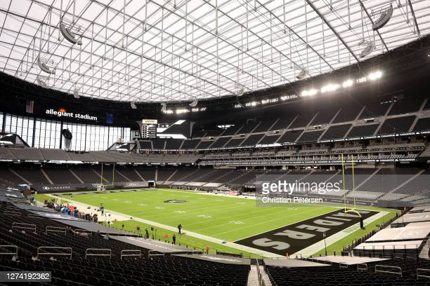 General view of the field prior to the game between the Las Vegas Raiders and the New Orleans Saints at Allegiant Stadium on September 21, 2020 in...
