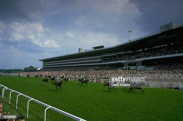 General view of the field racing past the stands during Royal Ascot at Ascot racecourse in Berkshire, England. \ Mandatory Credit: Allsport UK...
