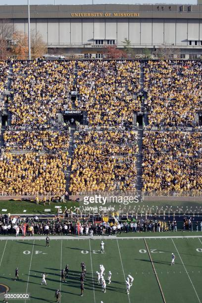 A general view of the field taken during the game between the Baylor Bears and the Missouri Tigers at Faurot Field at Memorial Stadium on November 7...