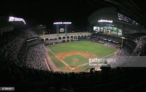 General view of the field taken during the game between the Houston Astros and the Milwaukee Brewers on April 18, 2006 at Minute Maid Park in...